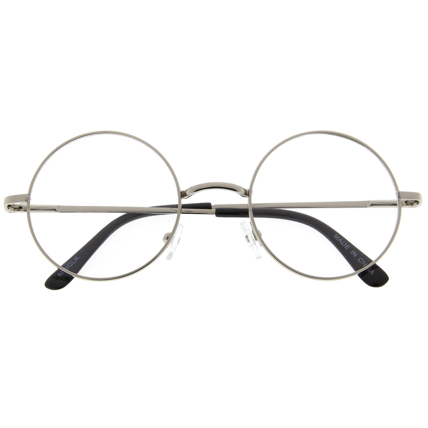 Amazon.com: John Lennon Inspired Round Clear Lens Glasses Hippy ...