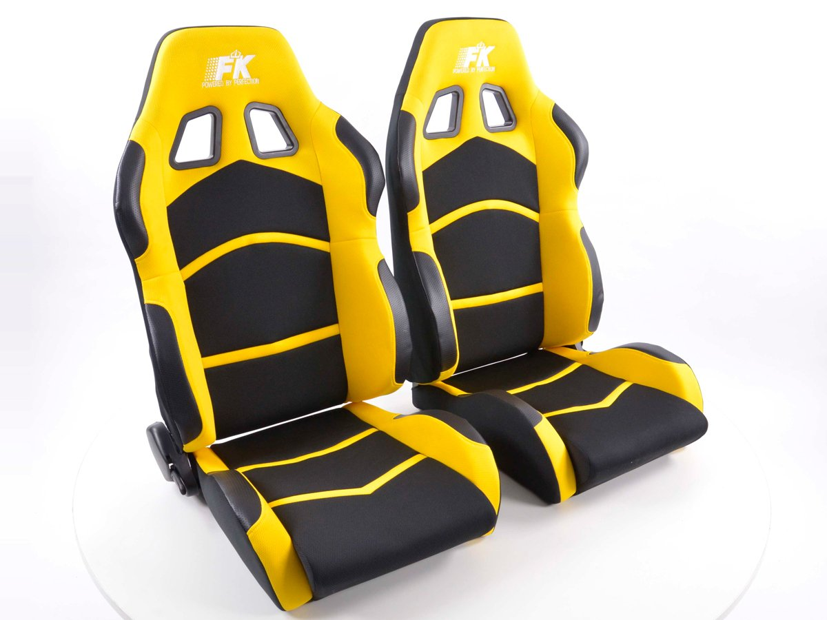 Sportsitz Set Cyberstar 1x links+1x rechts schwarz gelb FK-Automotive