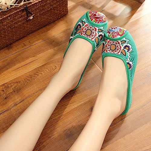 De Mujeres Casual Zapatos Cómodo Flip Mn Único Sandalias Estilo Tendón Verde Flop Étnico Moda Bordado aFqRw40t