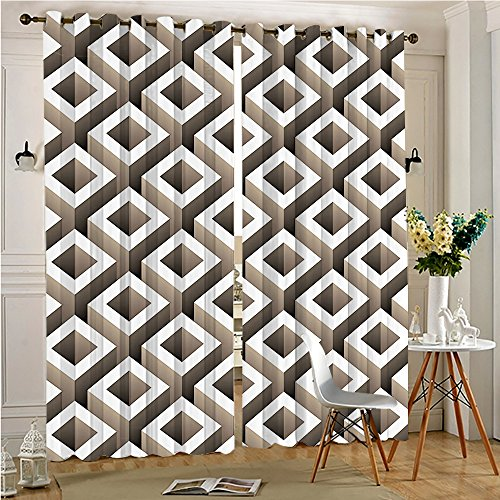 54 Black Cube - Analisahome Thermal Insulated Blackout Panel Curtain Maze Pattern with Cubes and Squared Shaped Rotary Lines Taupe for Bedroom/Living Room (2 Panels, 54