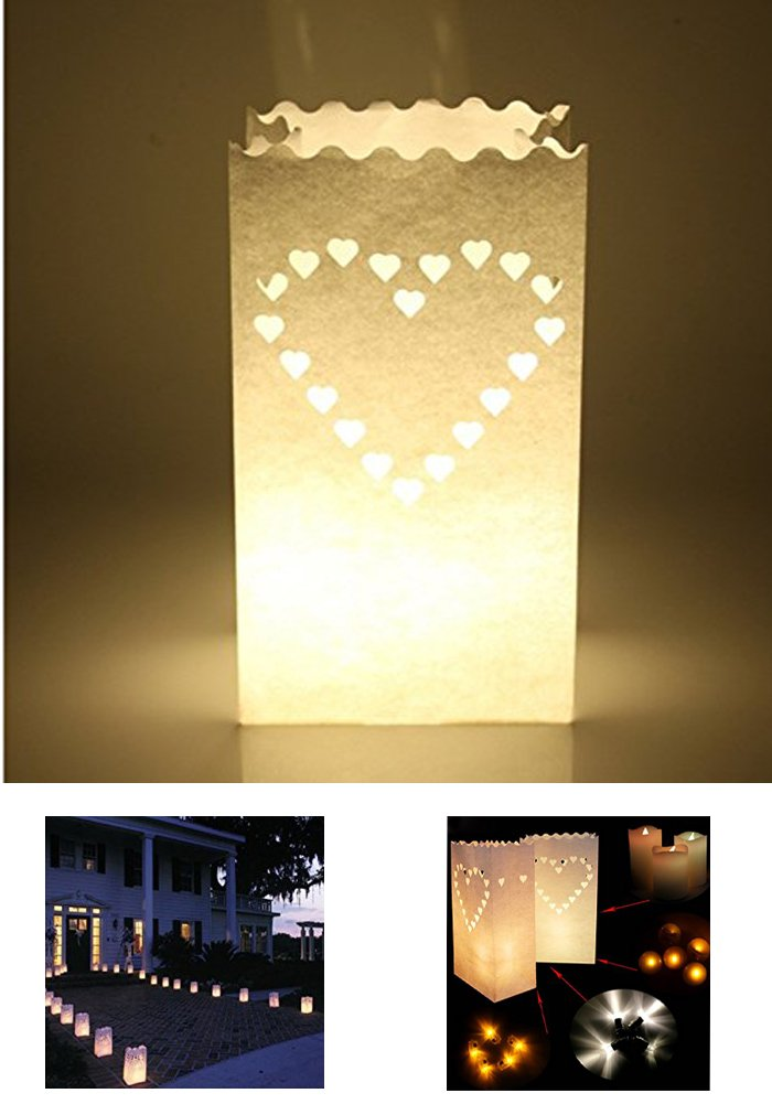 Zaptex Luminary Paper Lantern Candle Tea Light Bag with Flame Resistant Paper for Holiday Wedding Party Decorations (50 Pcs, Heart-Shaped) by Zaptex