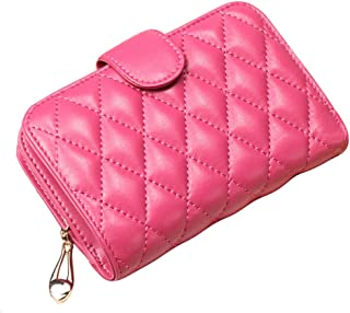 Wallet Slim Pour Wallet Femmes court Sheepskin Mesdames Zipper, Rose rouge Blancho Bedding
