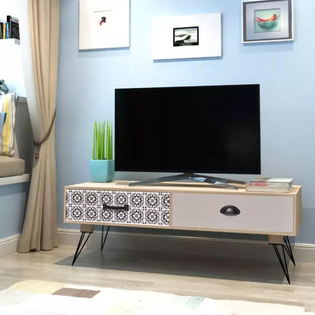 UnfadeMemory Mueble para TV,Mesa para TV,Mesita Auxiliar para Salón Dormitorio,Mueble de HiFi, Aparador,Mesa Baja,con 2 Cajones Grandes,MDF 100x40x35cm Marrón: Amazon.es: Hogar