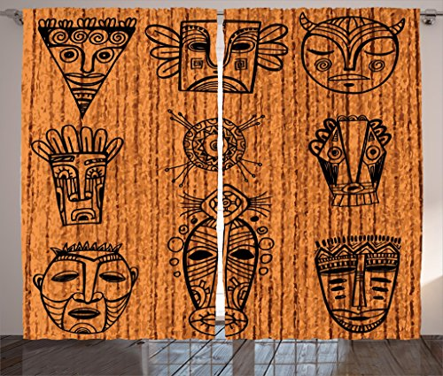 Ambesonne African Decorations Curtains by, Ritual and Ceremonial African Tribal Cultural Masks Spiritual Religious Art Print, Living Room Bedroom Decor, 2 Panel Set, 108 W X 84 L Cinnamon Black