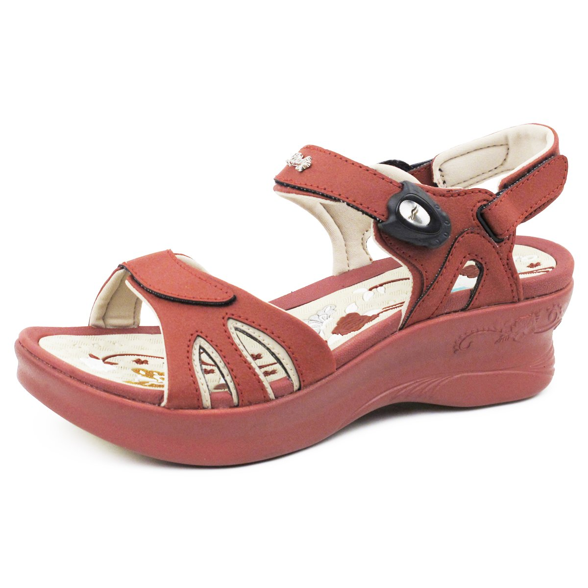 Gold Pigeon GP5974W (Size 4.5-8) Easy Magnetic Snap Lock Closure Light Weight Comfort Platform Sandals (Size 4.5-8) B01LZ8ZWIO EU36: US 5/5.5|Burgandy