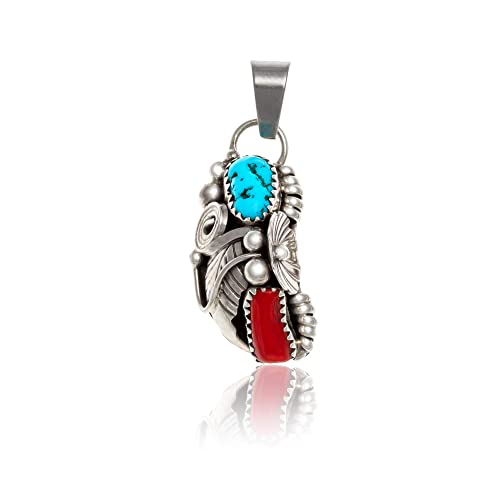 230Tag Flower Silver Certified Navajo Native Natural Turquoise Coral Pendant 26211-1 Made by Loma Siiva