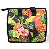 Hawaiian Print Thermal Insulated Zipper Lunch Bag Tropical Gardens with Hibiscus and Pineapple in Black Large