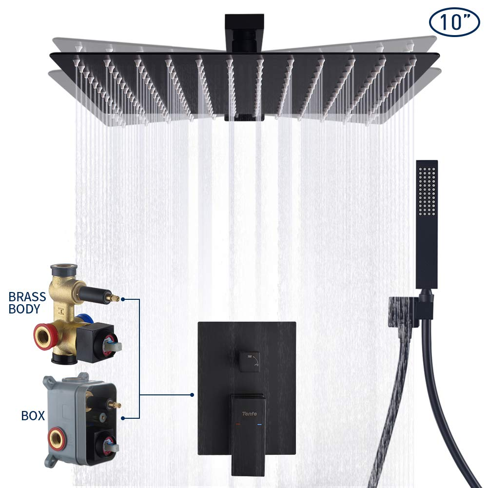 Tenfe Shower System Matte Black Shower Set Wall Mounted with High Pressure Rainfall Shower Head Handheld Shower Head and UPC Certified Shower Faucet Valve Bathroom Rain Mixer Shower Combo Set