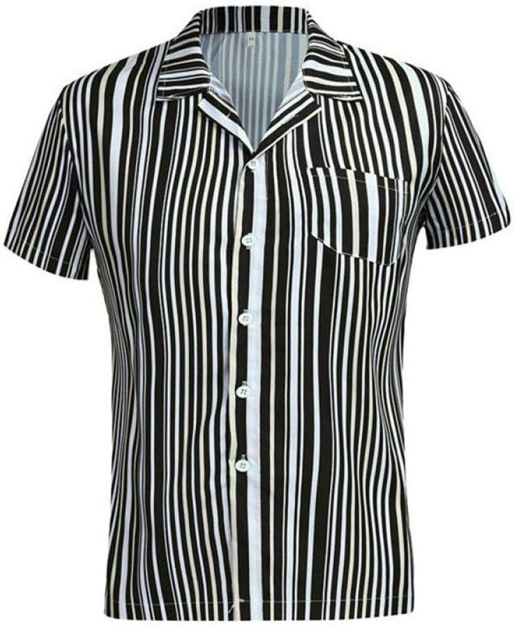WDXPYA Camisa Hawaiana para Hombre,Verano Negro Slim Raya Hawaiana Impreso Ropa De Hombre Estilo Europeo Camisa De Manga Corta Hombres Moda Camisas Casuales: Amazon.es: Deportes y aire libre
