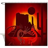 CafePress - Kokopellis in the Southwest Red Shower Curtain - Decorative Fabric Shower Curtain