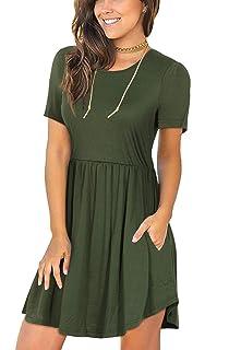 9130af2da1b PinUp Angel Women's Short Sleeve Tunic Dress V Neck Loose Flowy ...