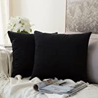 MIULEE Pack of 2 Velvet Pillow Covers Decorative Square Pillowcase Soft Solid Cushion Case for Sofa Bedroom Car 12 x 12 Inch Black