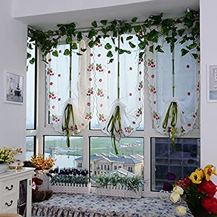 WPKIRA Fresh Strawberry Embroidered Roman Curtain Balloon Curtains Valance  Voile Tulle Sheer Window Curtain Drape for Cafe Store Kitchen Bay Window ...