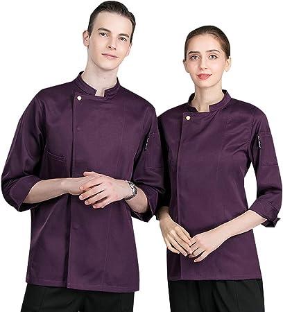 WYCDA Camisa de Cocinero Cocina Uniforme Manga Larga Blanco Rojo Azul Blanco Púrpura Disfraz de Chef Antiincrustante Protección del Medio Ambiente,Púrpura,L: Amazon.es: Hogar
