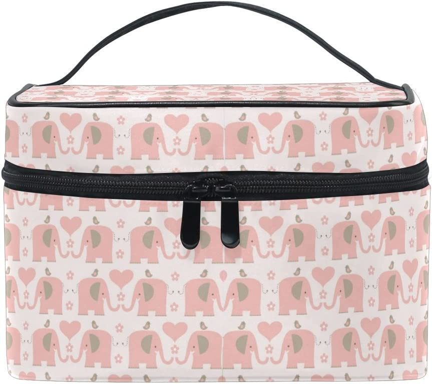 Makeup Bag, Cute Elephant Animal Print Cosmetic Toiletry