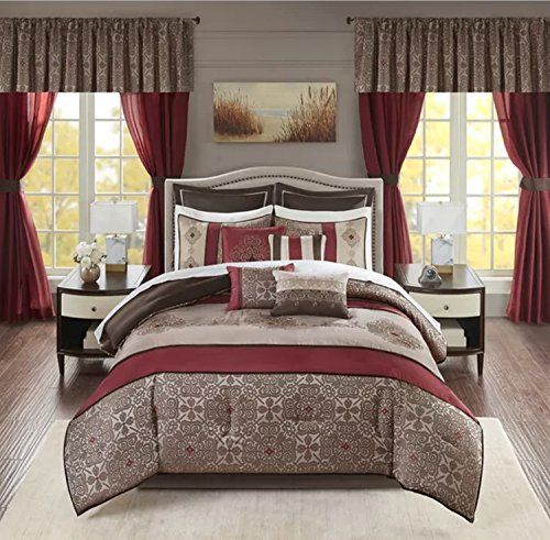 24 Piece Elegant Jacquard Pattern Comforter Set Cal King Size, Featuring Embroidered Medallion Asian Inspired Design Bedding, Contemporary Stylish Luxury Bedroom Decoration, Stripe Pillow, Red, (Asian Inspired Bedding)