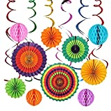 Sonnis 12pcs Hanging Fiesta Paper Fan Lanterns Decoration, Mexican Fiesta/Carnival/Kids Party/Birthday/Christmas Decor,Party/Events Decor, Home Decor Supplies Flavor (coloful-04)