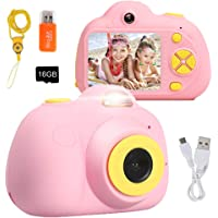 Kids Camera Dual Selfie Cameras, Huafly 2 inch Screen Digital Video Camera with 4X Zoom, Flash Rechargeable and Shockproof Camera Creative for Little Boys Girls with 16GB SD Card