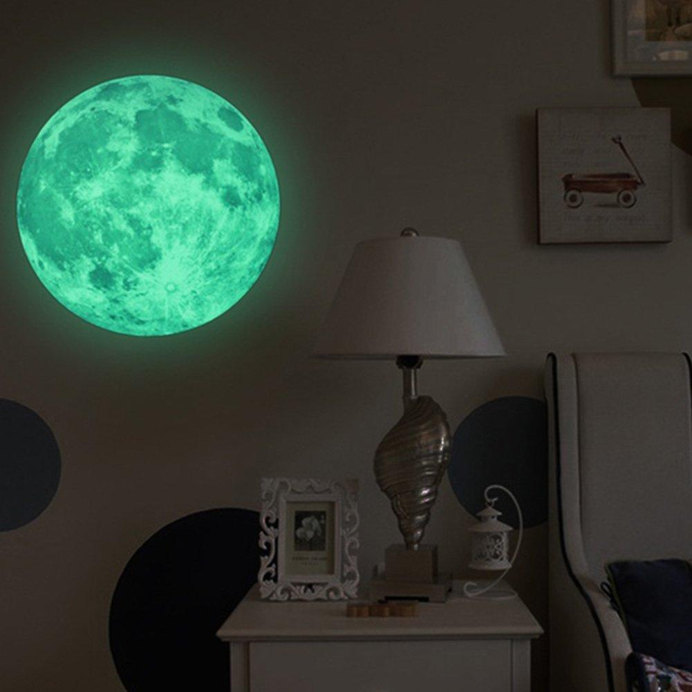 LUMINOSO LUNA Adesivi da parete 3D si illumina al buio decorazione muro per da bambino Camera Casa