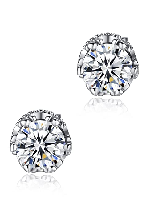 Stainless Steel Men's Round Cubic Zirconia Crown Large Stud Earrings G1036JZ1 KDYT09