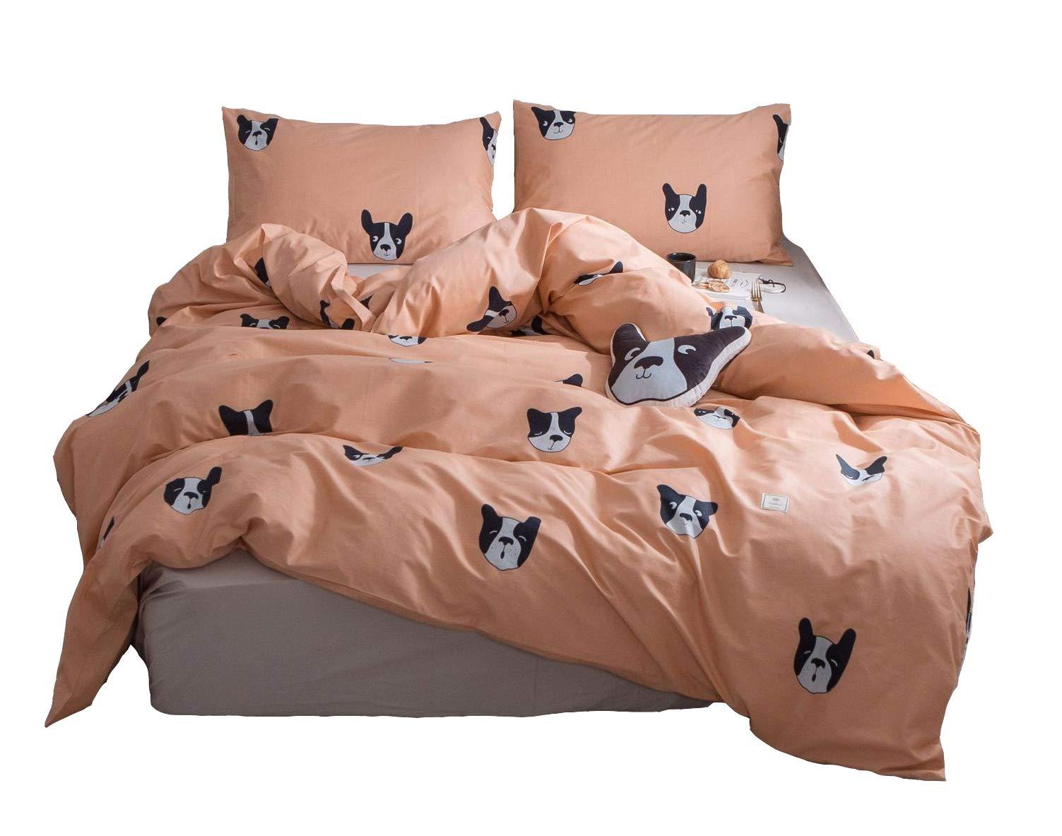 Cozydecor Queen Duvet Cover Set Kids Bedding Set Cartoon Animals Dog Print Cotton Bedding Duvet Cover 3 Piece Teens Boys Girls Comforter Cover with 2 Pillowcases Zipper Closure Corner Ties