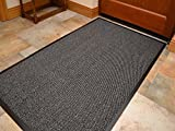Think-Louder Anti Slip Rubber Outdoor Floor Mat, Entrance barrier Rugs Home Kitchen Office Door runner in all colors and sizes 40x60/60x90/60x180/90x150/120x180 - GREY 90X150