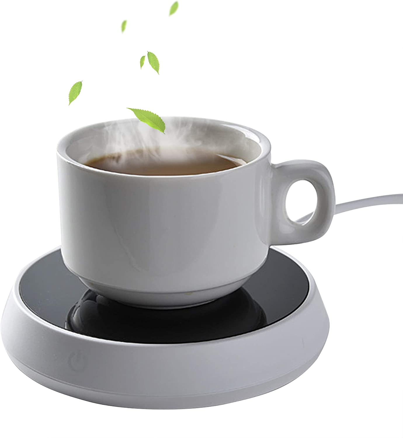 Mug Warmer for Tea,Coffee or Milk,Cup Beverage Warmer for Office, Home or Shop Use, Desktop Mug Warmer with Food Grade Silicone Drink Lids,55℃ Insulation Coaster with Reminder Light