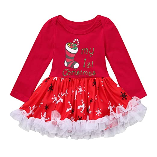b37187f61 Amazon.com: SUNBIBE🎅 Baby Christmas Dress, Newborn Infant Baby Girls My  1st Christmas Santa Xmas Snowflake Tutu Tulle Romper Dresses: Clothing