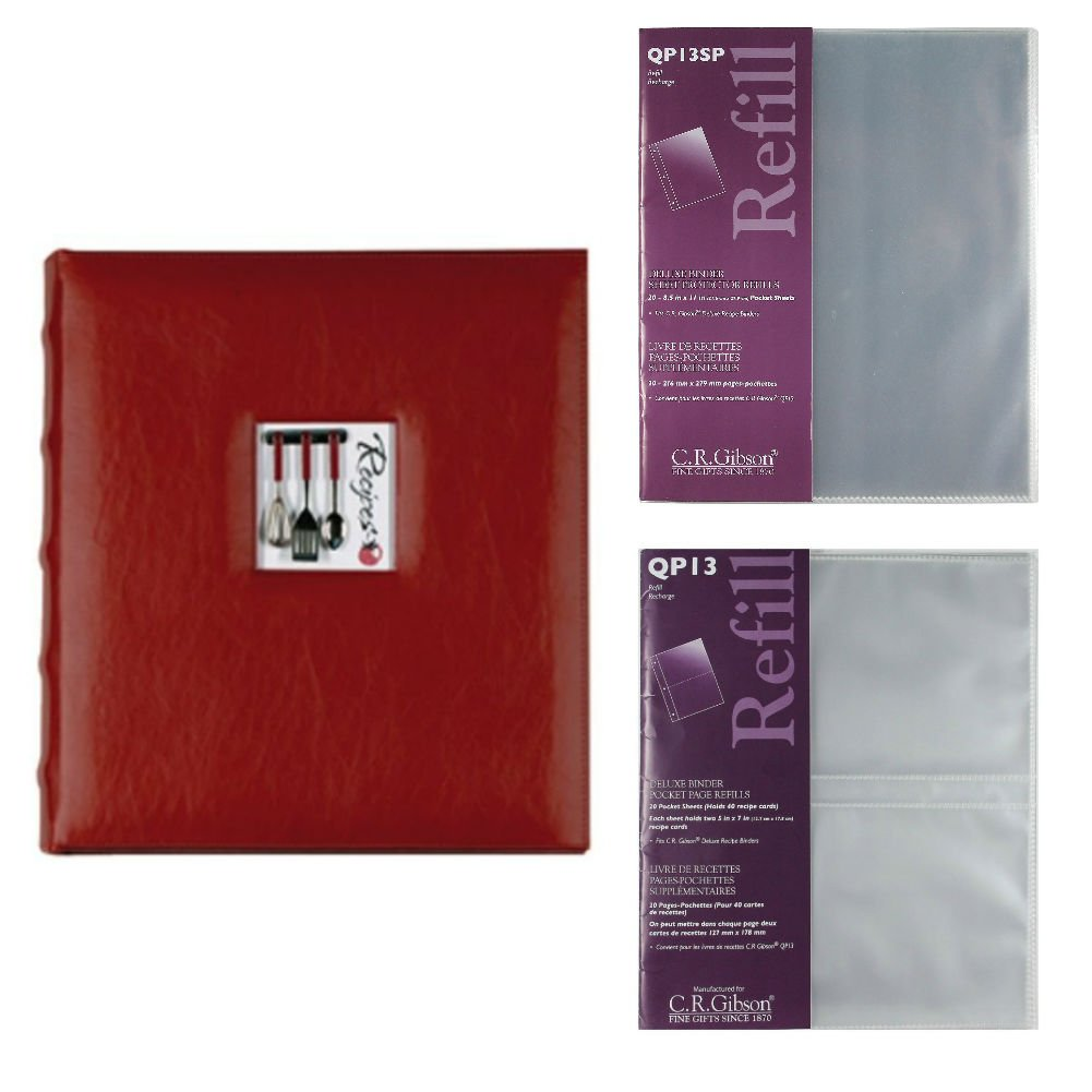 C.R. Gibson A La Carte Deluxe Kitchen Binder With QP-13 and QP-13SP Deluxe Pocket Page Refills