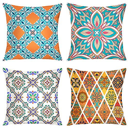 Suesoso Decorative Pillows Case,4 Pillow Set,Beautiful and Fashion with Tiles Moroccan Mandala Arabesque Throw Pillowcovers 20 x 20 inch,Cushion Decorative Home Decor Nice Gift Garden Sofa Bed Car (Pillows Nice Throw)