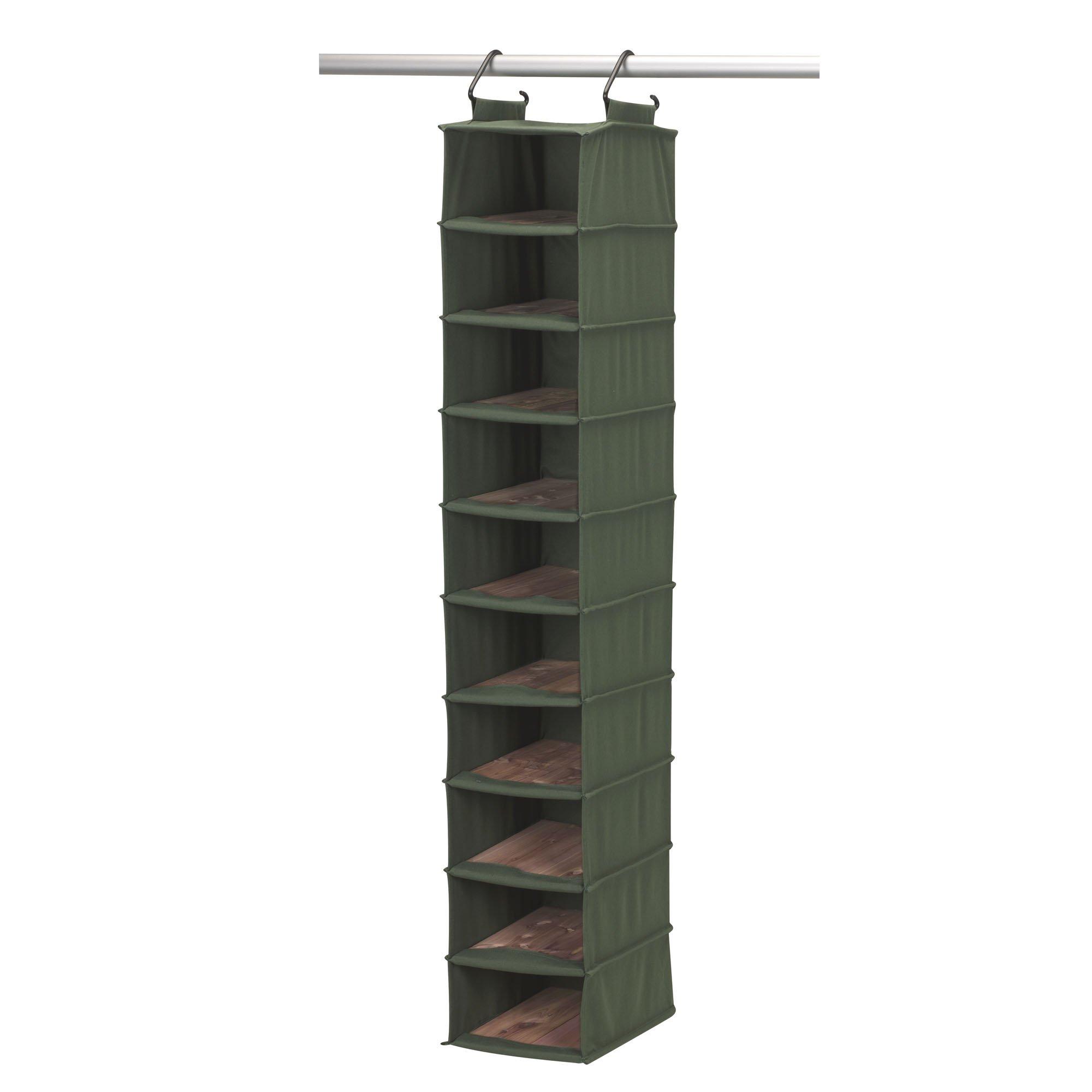 Household Essentials 2554-1 CedarStow Premier Hanging Shoe Organizer   10-Shelf   Cedar Green