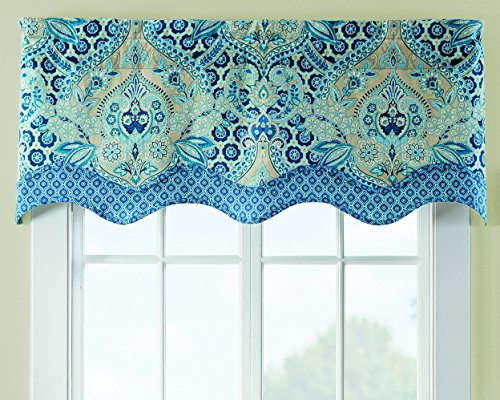 Shade Waverly - WAVERLY Moonlit Shadows Window Valance, 52x18, Lapis