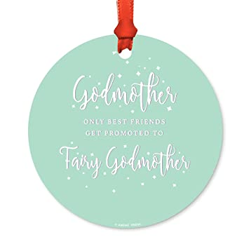 andaz press round metal christmas ornament only best friends get promoted to fairy godmother