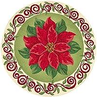 3 Feet Round Hooked Rug, Christmas Poinsettia