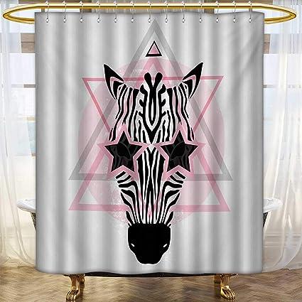 Lacencn Pink ZebraShower Curtains Mildew ResistantZebra Head Star Eyes Boho Portrait Geometric