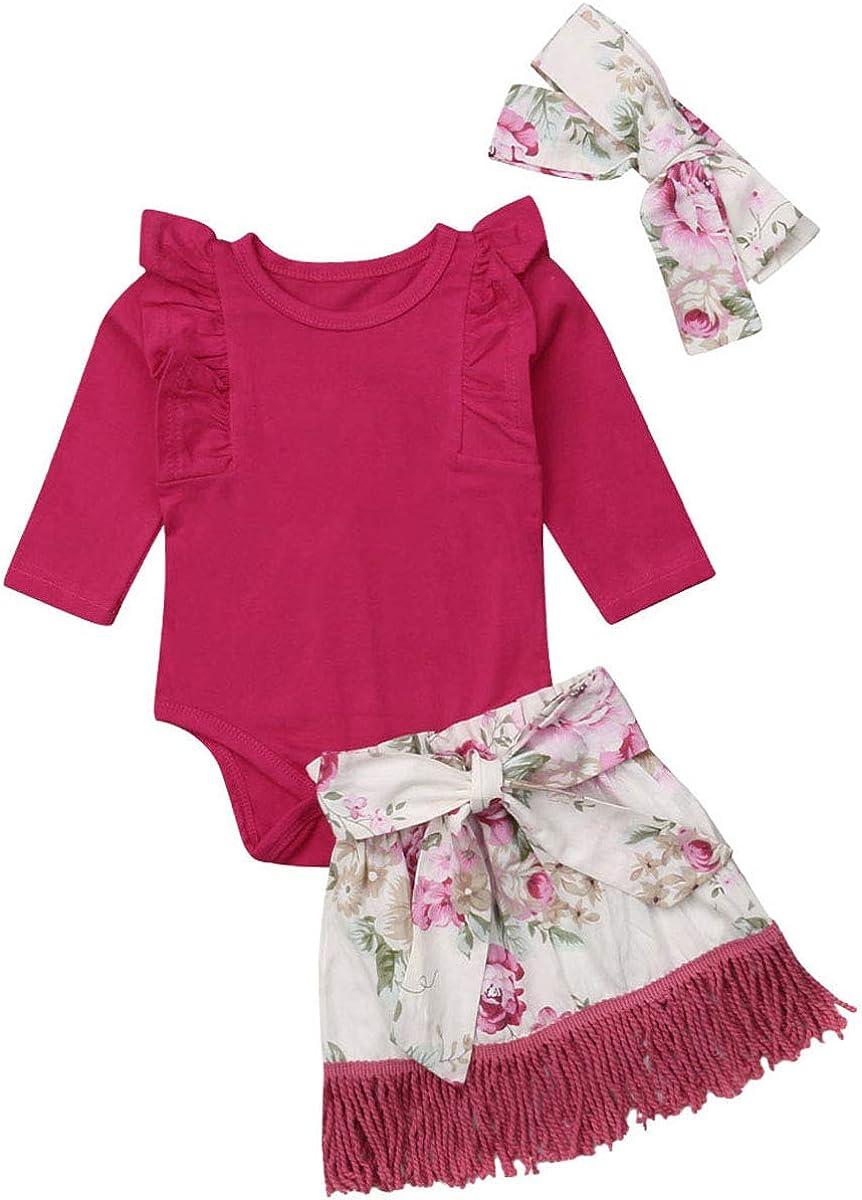 Baby Girls Ruffles Romper Floral Tie Tassel Skirt with Headband