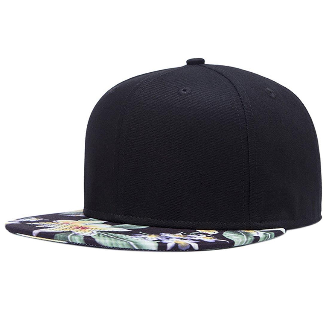 ChezAbbey Solid Flat Brim Hip Hop Adjustable Hat Stylish Snapback Baseball Cap