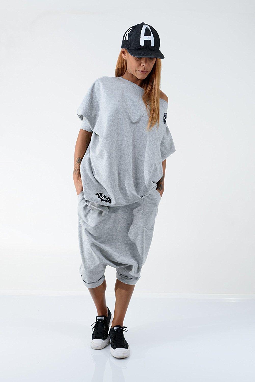 a2cfcc08ab3 LOCKERROOM Everyday Tracksuit Plus Size Casual Suit Grey Loose Oversize Harem  Pants and Asymmetric Loose Top  Amazon.co.uk  Handmade