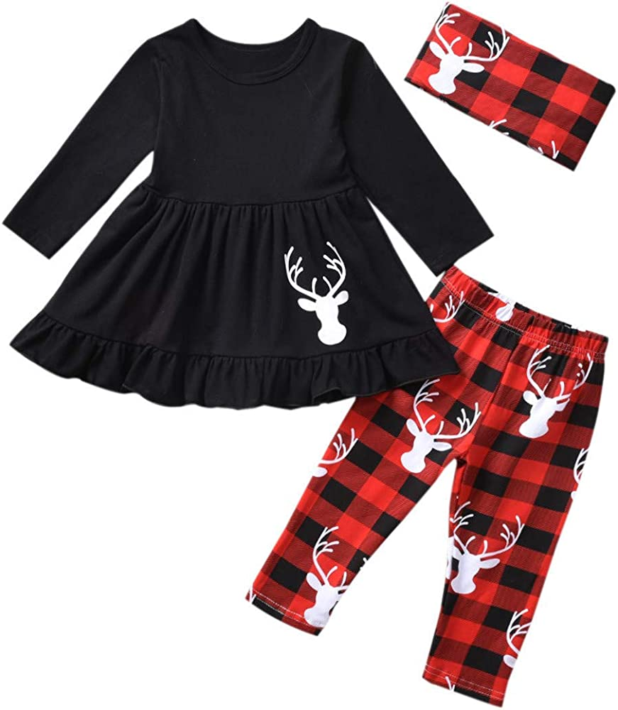 Toddler Kids Baby Girl Deer T shirt Tops+Pants Christmas Outfits Clothes Set m