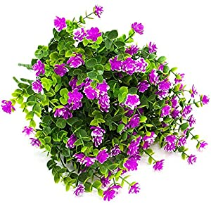 MARJON FlowersArtificial Flowers, Fake Outdoor UV Resistant Plants Faux Plastic Greenery Shrubs Indoor Outside Hanging Planter Home Kitchen Office Wedding Garden Decor (Red) 2
