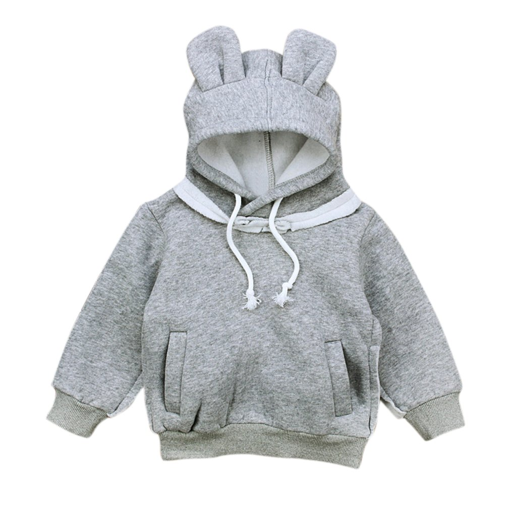OUYAWEI Cute Bear Ear Hooded Tops Breathable Long Sleeve Velvet Hoodie