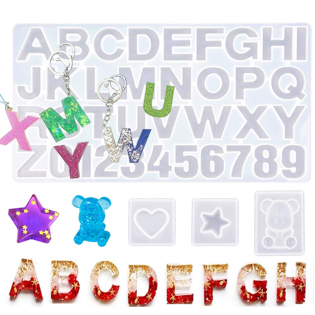 Jatidne Resin Molds Letters Large Silicone Molds for Resin with 3 Small Keychain Molds Jewelry Resin Casting Molds Alphabet DIY Crafting by Jatidne