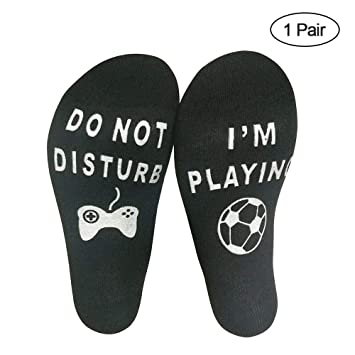 KOBWA Calcetines Tobilleros Divertidos, no molestes, Estoy Jugando Calcetines de algodón para los Amantes del fútbol, Jugadores, cumpleaños de Navidad, ...
