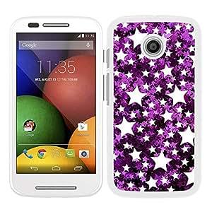 Funda carcasa para Motorola E estampado estrellas efecto purpurina violeta borde blanco