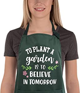 Saukore Funny Garden Aprons for Women Men Waterproof Kitchen Aprons with Pocket for Cooking Baking Painting Gardening - Birthday Gift for Gardener Florist Wife Girlfriend Daughter Sister Mom Grandma