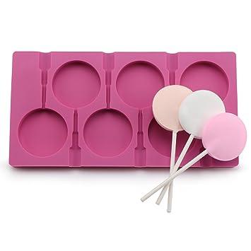 6 cavidades Big Lollipop Mold, DIY Candy Chocolate con ventosa moldes, silicona de grado