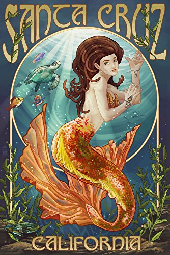 Santa Cruz, California - Mermaid (12x18 SIGNED Print Master Art Print w/Certificate of Authenticity - Wall Decor Travel Poster)