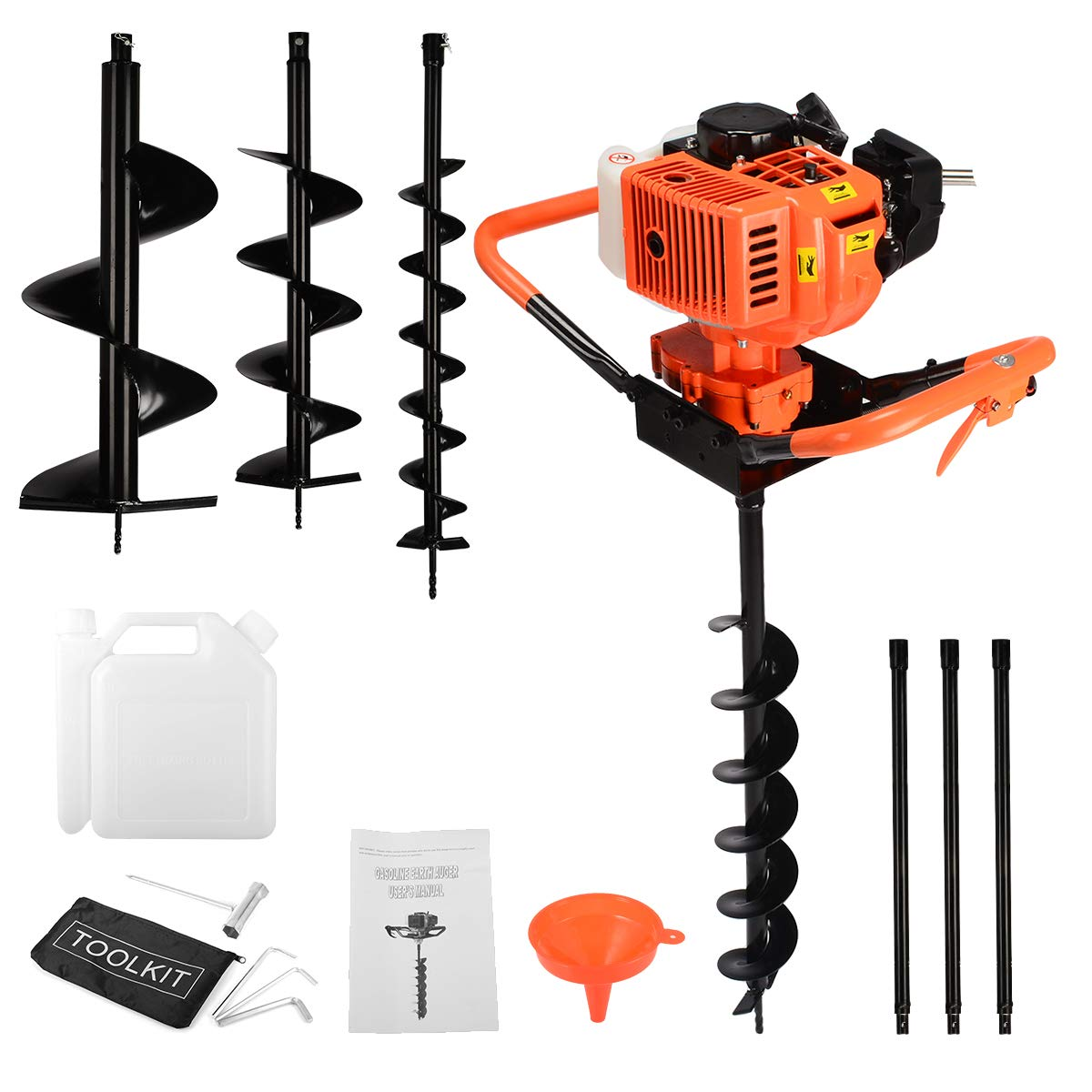 Extension Rods 3 Bits 3 /& 6 /& 9 72cc 3KW Petrol Powered Earth Auger Post Hole Digger Borer Ground Drill
