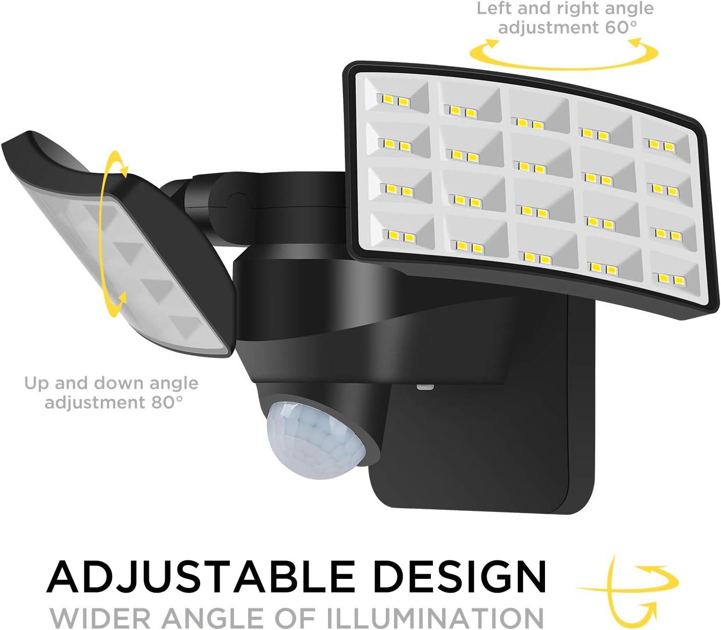 BOSWEE Luz de Seguridad Solar al Aire Libre Luz de Sensor de Movimiento Solar LED 1600LM con 2 Cabezales Ajustables, 5500K, IP65 a Prueba de Agua Proyector para PatioTrasero, Camino & Patio: