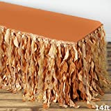 Efavormart 14ft Enchanting Curly Willow Taffeta Table Skirt for Kitchen Dining Catering Wedding Birthday Party Events - Gold